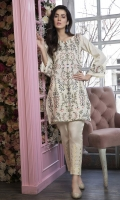 Stitched Lawn Shirt Round Neck With Slit Fully Embroidered Front Embroidered Sleeves With Frills Plain Back