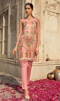 3 Pc Stitched Dress Round Neck With Slit.Embroidered Poly Net Front Poly Net Plain Sleeves.Poly Net Plain Back.Cambric Trouser