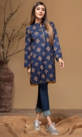 Stitched Linen Kurta Ban Collar Gold Printed Front Gold Printed Sleeves