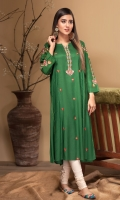 Stitched Linen Frock Boat Neck With Slit Embroidered Front Embroidered Sleeves Plain Back
