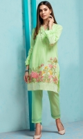 Stitched Lawn Shirt Boat Neck With Slit Frill At Neck Line Embroidered Front Sleeves With Frills Plain Back