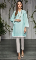 Stitch Lawn Shirt V Neck With Croatia Lace Neck Line Pearls Front Border Lace Sleeves With Border Lace