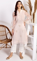 Stitched Organza Shirt.V Neck Embroidered Front.Embroidered Sleeves.Stitched Inner.Attachable Cap Sleeves.Plain Back