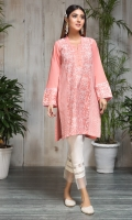STITCHED LAWN SHIRT PRINTED FRONT WITH NECK LINE PEARLS SLEEVES WITH PRINTED BORDERS & KINARI LACE PLAIN BACK