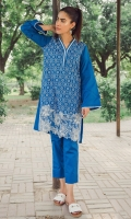 2 Pc Stitched Dress V Neck Embroidered Front Sleeves With Border Lace Plain Back Cambric Trouser