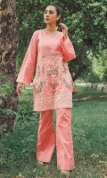 2 Pc Stitched Dress Boat Neck With Slit Embroidered Front With Neck Line Pearls Embroidered Sleeves Bell Bottom Trouser