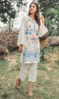 Stitched Lawn Shirt Boat Neck With Slit Embroidered Front Bell Shaped Sleeves With Pleats Plain Back