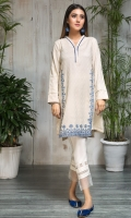 STITCHD JACQUARD SHIRT V NECK WITH SEERHI LACE EMBROIDERED FRONT PLAIN SLEEVES WITH ANCHOR STITCHES PLAIN BACK