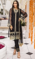 Embroidered Organza Front 0.80m..Sleeves & Back 1.5m. Embroidered Border 1 Pc. Embroidered Sleeve Motifs 2Pcs. Embroidered PolyNet Dupatta 2.5m