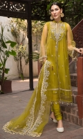 Embroidered Polynet Front 0.80m Sleeves & Back 1.5m. Embroidered Neck 1Pc. Embroidered Sleeves & Border Patti 2m. Embroidered PolyNet Dupatta 2.5m