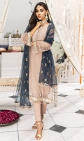 Embroidered Organza Front 0.80m. Sleeves & Back 1.5m. Embroidered Neck 1Pc. Embroidered Border 1 Pc. Embroidered Gray PolyNet Dupatta 2.5m
