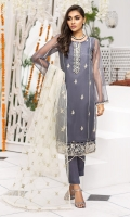 Embroidered Organza Front 0.80m. Sleeves & Back 1.5m. Embroidered Neck 1Pc. Embroidered Border 1 Pc. Embroidered PolyNet Dupatta 2.5m