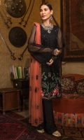 Embroidered Organza Front 1 Pc Embroidered Motif 1 Pc Plain Sleeves & Back 1.5M Rust Colored Embroidered Polynet Dupatta
