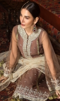 Embroidered Polynet Front 1 Pc Embroidered Neck 1 Pc Plain Sleeves & Back 1.5 M Embroidered Tape For Sleeves 1.25 M Off White Embroidered Polynet Dupatta
