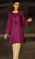 Stitched Inen Shirt Round Neckembroidered Front Resham Neck Dori Sleeves With Pleats & Pearl Details Plain Back