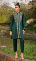 2 PC STITCHED DRESS  BAN COLLAR  EMBROIDERED FRONT  SLEEVES WITH EMBROIDERED BORDER AND FRILLS  PLAIN TROUSER  LINEN TROUSER WITH PLEATS