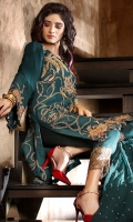2.5 meters Embroidered Chiffon shirt with sequins and tilla work 0.5 meter Chiffon sleeves with embroidery and sequins work 2.5 meters trouser 2.5 meters Embroidered chiffon Dupatta with Sequins work
