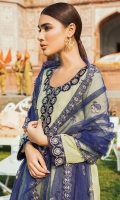 Front: 1.25 Yards Fully Embroidered Tarkashi Lawn with Silk Neck Line Patch & Front Border Patch Back: 1.25 Yards Fully Embroidered  Sleeves: 0.75 Yards Embroidered with Silk Patch Trouser: Cambric Plain Dupatta: 2.8 Yards Net Embroidered