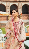 Front: 1.25 Yards Embroidered Jacquard Lawn & 2 Side Embroidered Panels Back: 1.25 Yards Printed Back Sleeves: 0.75 Yards Embroidered Sleeves  Trouser: Cambric Plain Dupatta: 2.8 Yards Organza Printed