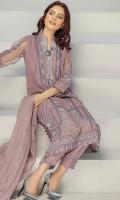 2.5 meters Embroidered Net shirt,0.5 meter Embroidered Net Sleeves ,2.5 meters Plain trouser ,2.5 meters Embroidered organza dupatta