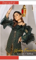 Elegant High Grade Chiffon Shirt With Gracefull Fully Embroidered Front and Back Shirt Heavy Embroidered Chiffon Dupatta Jamawar Trouser