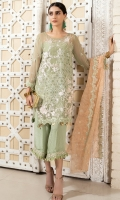 2.5 meters Embroidered Chiffon shirt with Sequins and Tilla work 0.5 meter Embroidered Chiffon sleeves with Sequins and Tilla work2.5 meters plain trouser with Embroidered patch.2.5 meters Embroidered Organza Dupatta