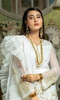 2.5 meters Embroidered Chiffon shirt with Sequins and Tilla work 0.5 meter Embroidered Chiffon sleeves with Sequins and Tilla work2.5 meters plain trouser with Embroidered patch 2.5 meters Organza Dupatta