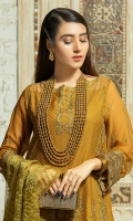 2.5 meters Embroidered Chiffon shirt with Sequins and Tilla work 0.5 meter Embroidered Chiffon sleeves with Sequins and Tilla work2.5 meters plain trouser with Embroidered patch 2.5 meters Embroidered Organza Dupatta