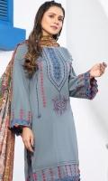 2.5 meters Embroidered Peach shirt 0.5 meter Embroidered Peach sleeves2.5 meters Plain Peach trouser 2.5 meters Printed wool Shawl