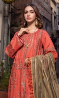 1.25 Meters Self Jacquard Embroidered Front,  0.7 Meter Embroidered Sleeves,  2.5 Meters Plain Dyed Trouser,  2.5 Meters Fancy Danier Dupatta,  1.25 Meters Plain Back