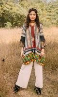 Fabric: Khaddar. Embellishment: Band V Neckline with Tassel Fringe lace on Sleeves Bold Lace on Hem Side Pockets. Fit: Straight.
