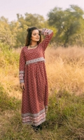 Fabric: Linen. Embellishment: Round Neck Tassels Detail on Yoke Full Length Sleeves Exaggerated Flare Double Bodice. Fit: Flaired Maxi.