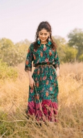 Fabric: Linen. Embellishment: Round Neck with Cutwork Detail Wooden Embellishment Deatiling on Neck Straight Sleeves with Net Detailing on Ends. Fit: Flaired Frok.