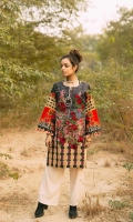 Fabric: Khaddar. Embellishment: Round Neck with Pearl Details Composed Embroidery on Front Tassels on Sleeves. Fit: Straight.