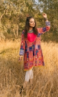 Fabric: Khaddar. Embellishment: Round Neck with Back Detail Lace on Hem and Sleeves Pleats on Front Panel Wooden Buttons and Stones on Front Full Length Sleeves Dori Tie on Yoke. Fit: Peplum.