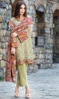 Shirt (3M) - 100% Viscose  Dupatta (2.5M) - Cambric Cotton  Lower (2M) - Cambric Cotton  Embroidery - Sleeve Patti+Border