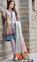 Shirt (2.3M) - Slub Khaddar  Shawl (2.5M) - 100 Wool  Lower (2M) - Cambric Cotton  Embroidery - Neckline  Sleeve – Patti + Border