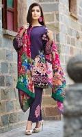 Shirt (2.3M) - Slub Khaddar  Shawl (2.5M) - 100% Wool  Lower (2M) - Cambric Cotton  Embroidery - Sleeve Patti  Border+Motif