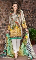 Digital Shirt (2.3 M) - 100% PIMA Cotton  Trouser (2 M) - 100% Cotton  Dupatta (2.5 M) - 100% Cotton  Embroidery - Motif + Patti