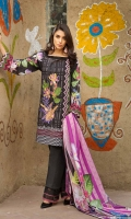 Shirt (1.2M) - 100% PIMA Cotton  Dopatta (2.5M) - 100% PIMA Cotton  Embroidery - Panel + Patti  Lower (2M) - 100% Cotton