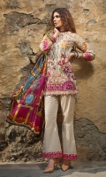 Shirt (2.3M) - 100% PIMA Cotton  Dopatta (2.5M) - 100% Silk  Lower (2M) - 100% Cotton  Embroidery - Panel, Border, Patti