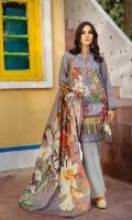 Shirt (1.2M) - 100% PIMA Cotton  Dopatta (2.5M) - 100% PIMA Cotton  Embroidery - Side Panel  Lower (2M) - 100% Cotton
