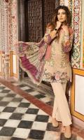 Shirt (2.3M) - 100% PIMA Cotton  Dopatta (2.5M) - Crinkle Chiffon  Lower (2M) - 100% Cotton  Embroidery - Panel + Sleeve