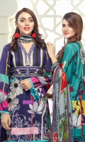 Three pcs embroidered linen suit with chiffon dupatta