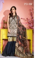 Embroidered Gold Jekard Front: 1.15 mtr Digital Print Back & Sleeves (Lawn) : 1.75 mtr Digital Print Chiffon Dupatta: 2.50 mtr Dyed Trouser: 2.50 mtr Prnted Trouser Patch: 1pcs