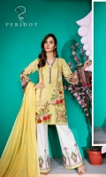 Embroidered Dyed Dobby Front: 1.15 mtr Digital Print Back & Sleeves (Lawn) 1.75 mtr Gold Jekard Dupatta: 2.50 mtr Dyed Trouser: 2.50 mtr Embroidered Trouser Patch: 1 pcs
