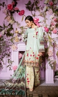 Digital Print Embroidered Front: 1.25 mtr Digital Print Back & Sleeves (Lawn) 1.75 mtr Digital Print Chiffon Dupatta: 2.50 mtr Gold Jekard Trouser: 2.50 mtr Embroidered Trouser Patch: 2 pcs