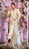 Embroidered Gold jekard Front: 1.25 mtr Digital Print Back: 1.25 mtr Gold Jekard Sleeves: 0.5 mtr Digital Print Silk Dupatta: 2.50 mtr Dyed Trouser: 2.50 mtr Digital Printed Trouser Patch: 1 pcs