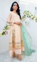 Elegant summery Ivory peach kalidar with embroidered hem and embellished neck line.