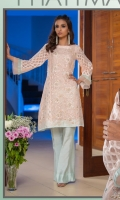 Masuri net panelled shirt with embroidery and embellishments.